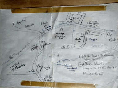 Derek Richard's annotated hand drawn village map